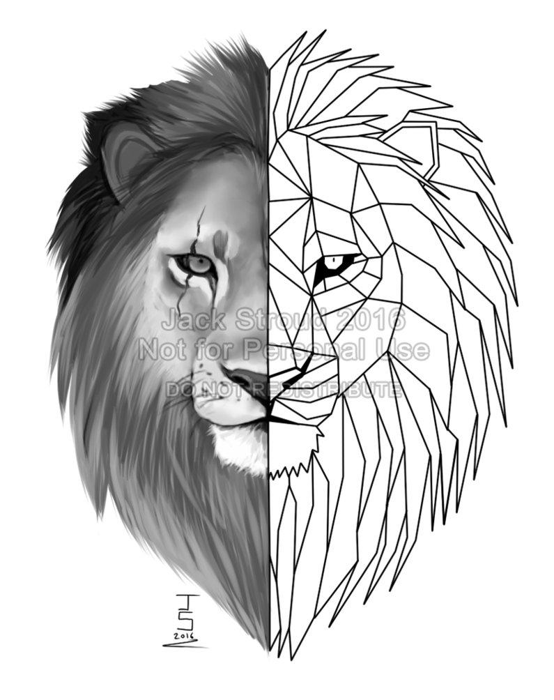 795x1004 Geometric Lion Tattoo By Prince Petrichor