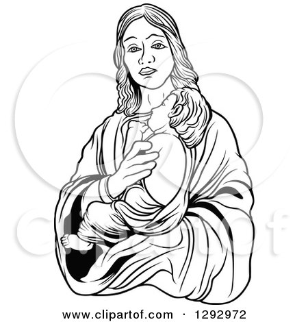 450x470 Clipart Of A Black And White Virgin Mary Holding Baby Jesus