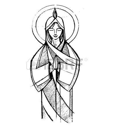 400x450 Hand Drawn Vector Illustration Or Drawing Of Virgin Mary