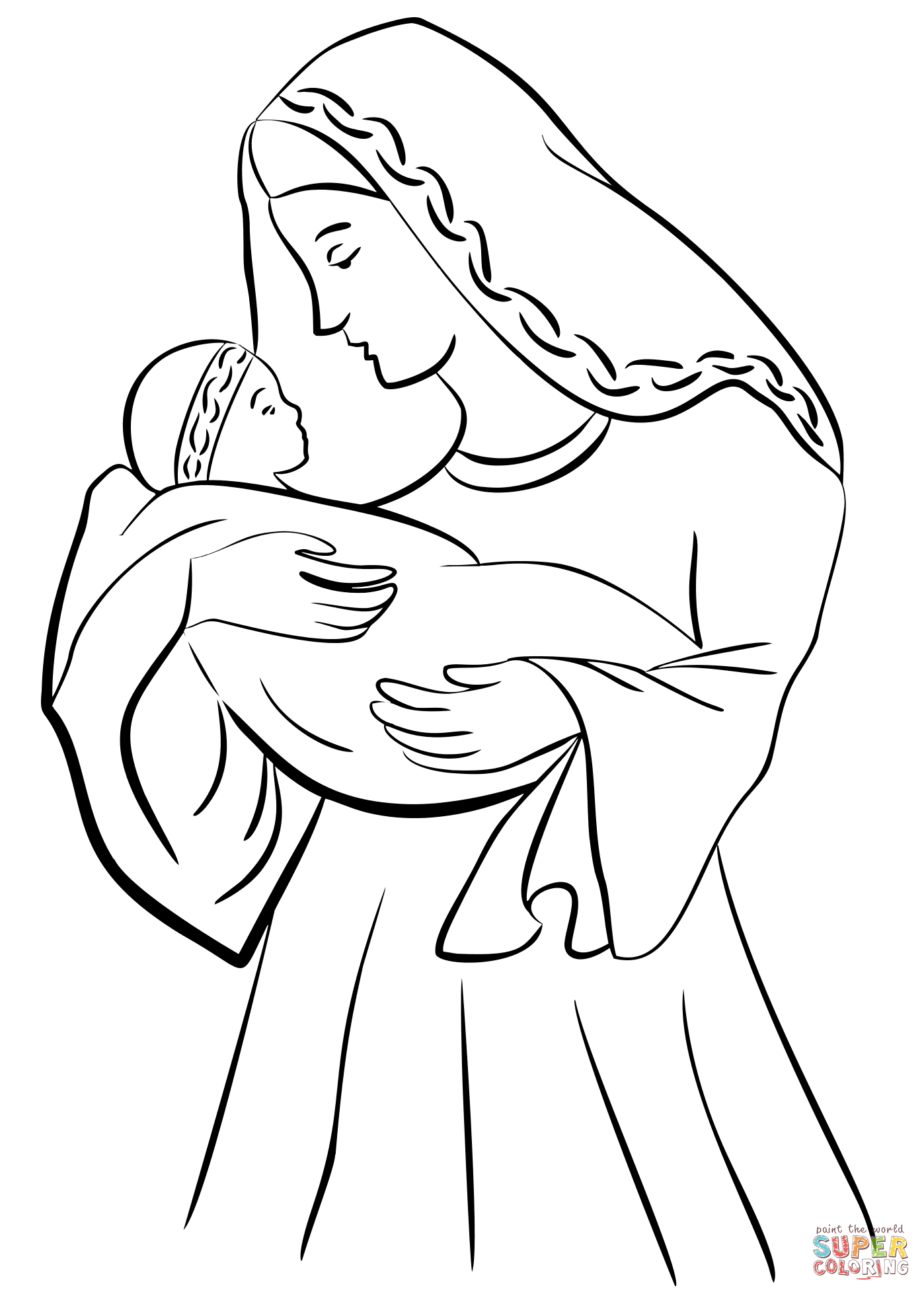 1398x1958 Mother Mary With Baby Jesus Coloring Page Free Printable