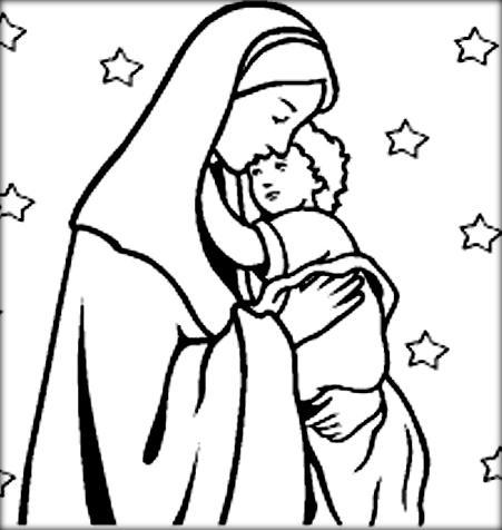 451x476 Printable Virgin Mother Mary Loves Child