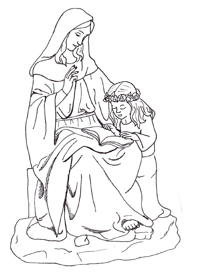 668x922 Blessed Virgin Mary Coloring Page Free Download