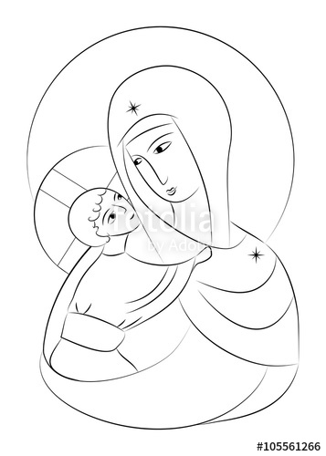 357x500 Blessed Virgin Mary Madonna With Child Icon Abstract Drawing