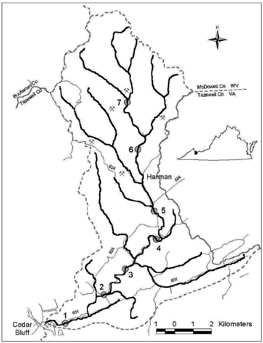 850x1111 Map Indian Creek Watershed, Tazewell County, Virginia. Each