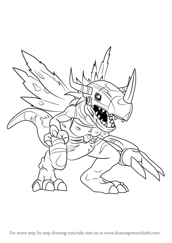 566x800 Learn How To Draw Metalgreymon Virus From Digimon (Digimon) Step