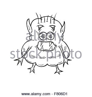 303x320 Pencil Drawing Virus Sketch. Hand Made Science Illustration Stock