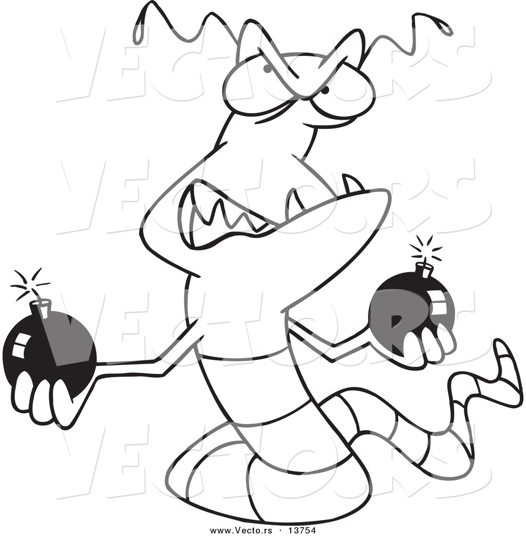 1024x1044 Vector Of A Cartoon Worm Virus Holding Bombs