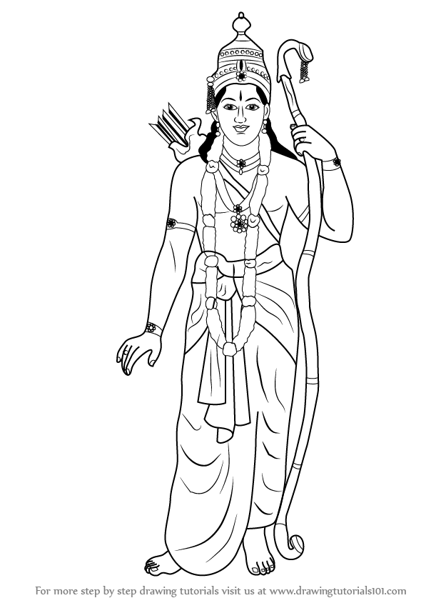 597x844 Learn How To Draw Lord Rama (Hinduism) Step By Step Drawing