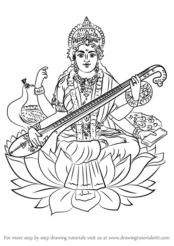 566x800 Learn How To Draw Saraswati (Hinduism) Step By Step Drawing