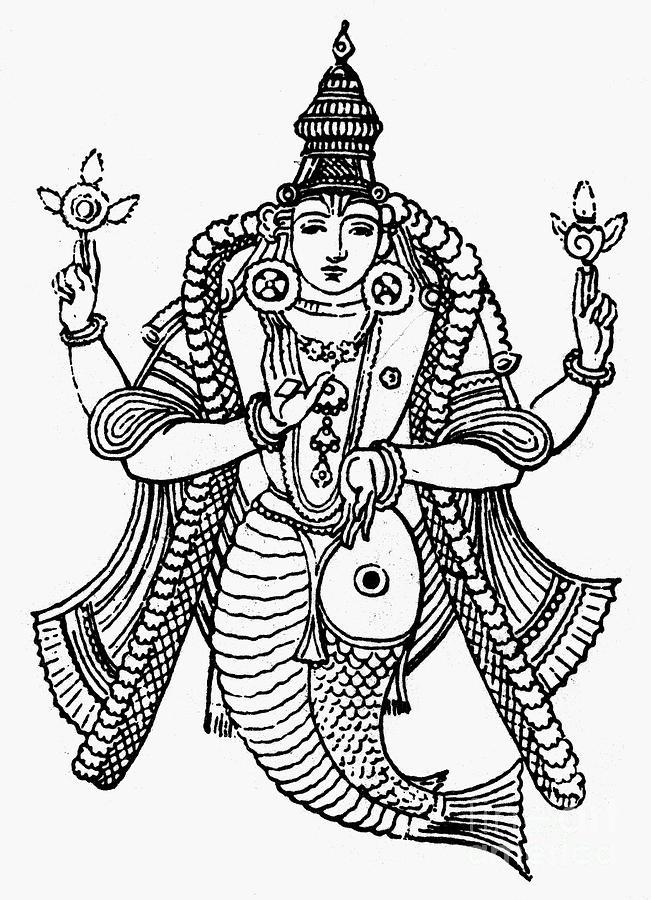 651x900 Hinduism Vishnu Photograph By Granger