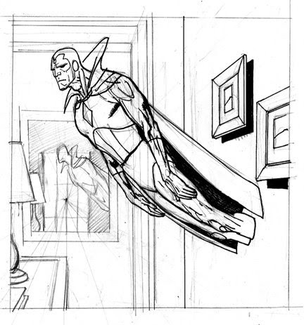 432x463 Kevin Nowlan The Vision Art For A Marvel Card