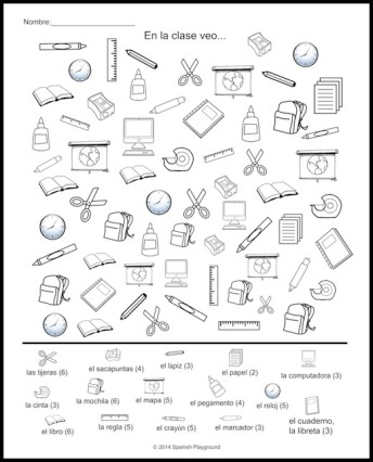 344x426 Spanish Classroom Vocabulary Picture Search Spanish Classroom