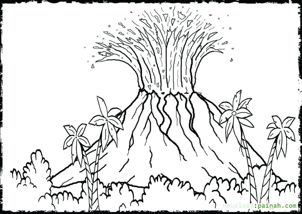 1024x728 volcano coloring page volcano printable dinosaur volcano coloring