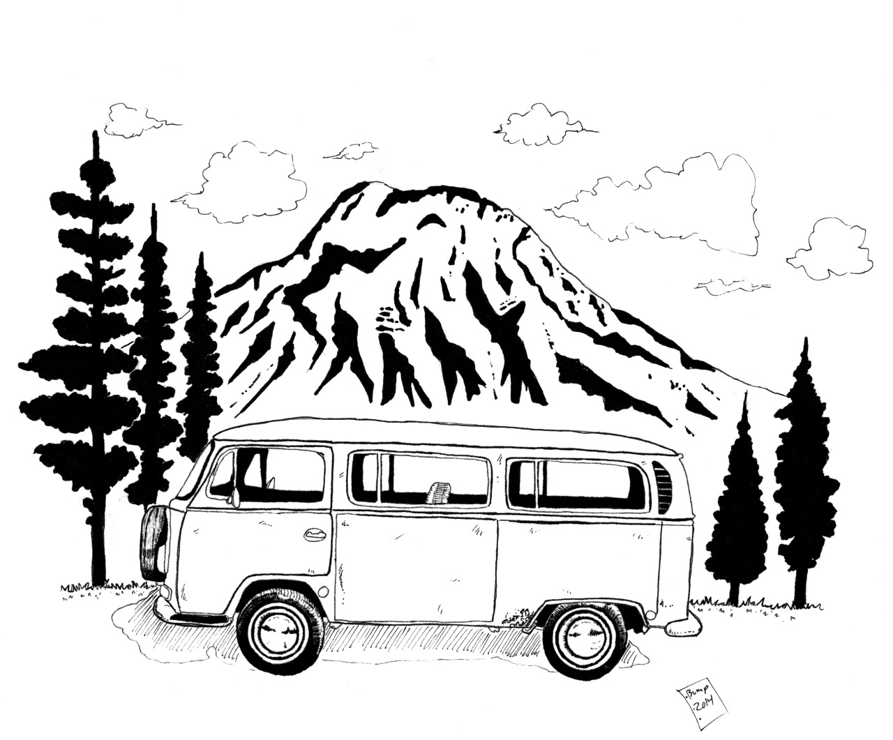 Volkswagen Bus Drawing at GetDrawings.com   Free for personal use ...