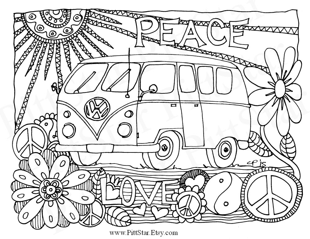1000x773 Instant Download Whimsical Vw Van Adult Printable Coloring