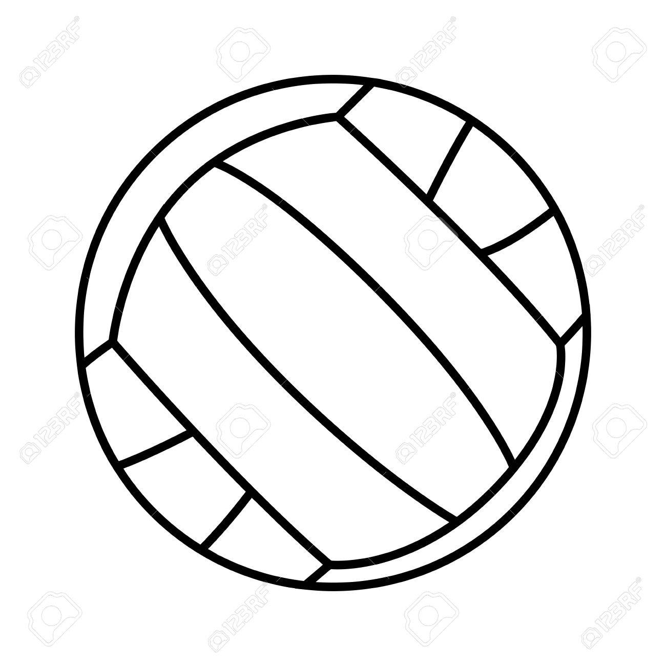 1300x1300 Isolated Outline Of A Volleyball Ball On A White Backdrop