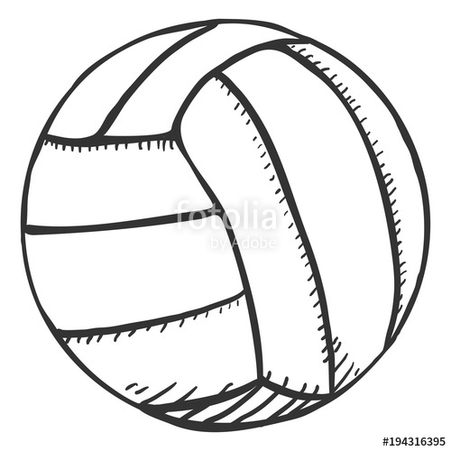 500x500 Vector Single Sketch Volleyball Ball Stock Image And Royalty Free