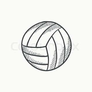320x320 Volleyball Ball Vector Sketch Icon Isolated On Background. Hand