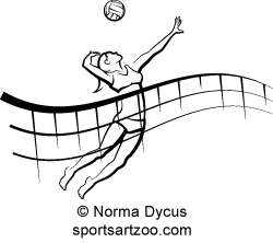 250x222 Woman Beach Volleyball Player With Flowing Net By Sportsartzoo