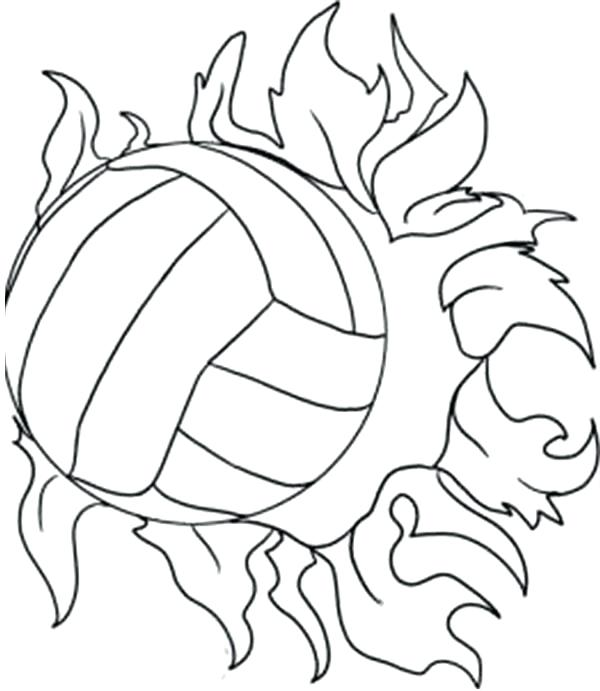 600x691 Volleyball Pictures To Color Super Power Spike Volleyball Coloring