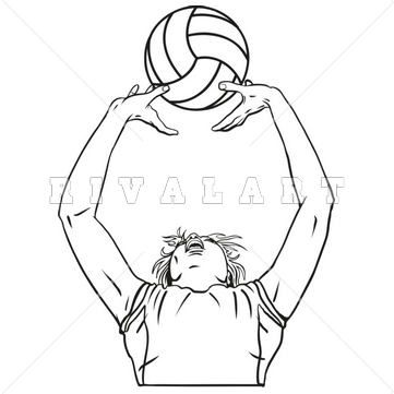 361x361 Sports Clipart Image Of Black White Girls Woman Womens Volleyball
