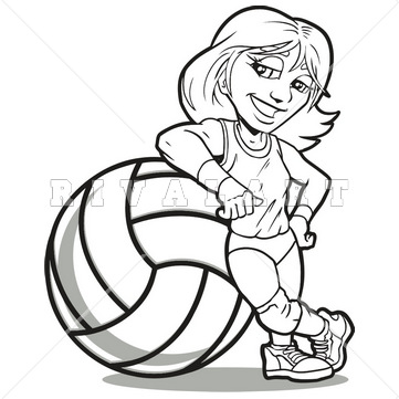 361x361 Sports Clipart Image Of Black White Volleyball Player Leaning