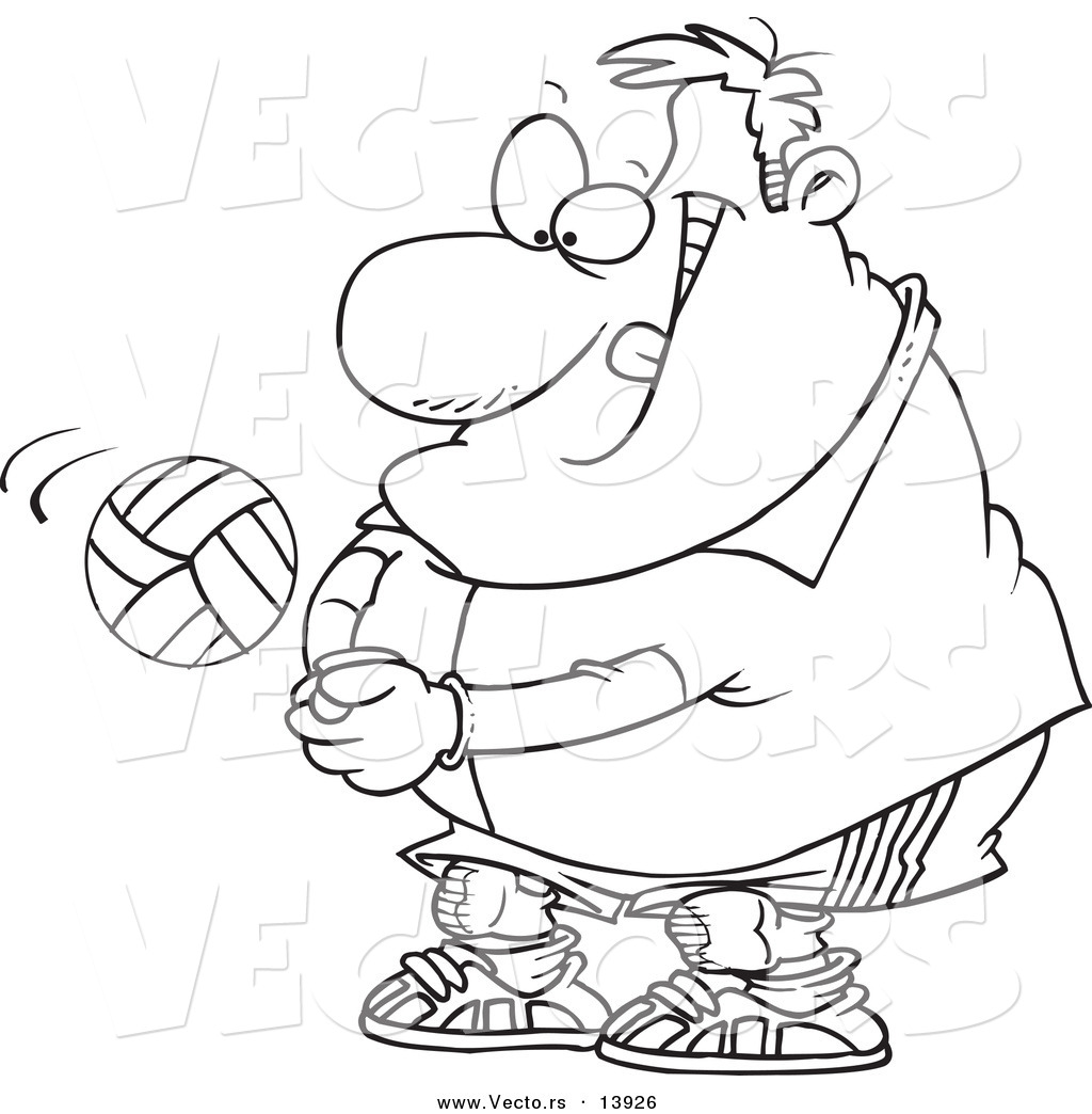 1024x1044 Vector Of A Cartoon Chubby Male Volleyball Player Hitting A Ball