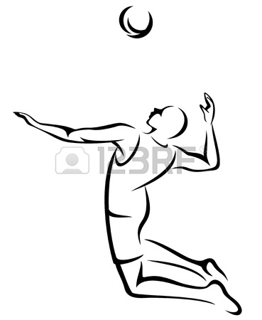 369x450 Volleyball Player Fine Black And White Outline Royalty Free