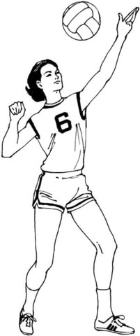 201x480 Woman Plays Volleyball Coloring Page Free Printable Coloring Pages