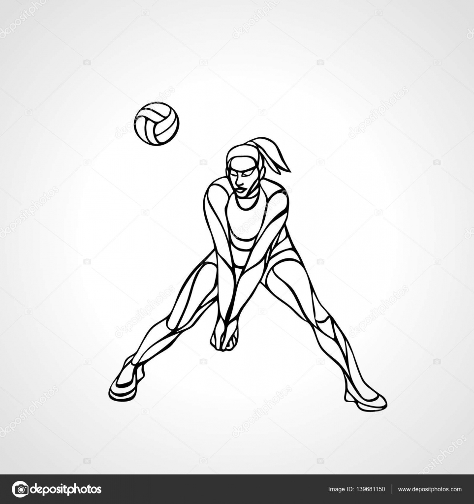 963x1024 Woman Volleyball Player Silhouette Passing Ball Stock Vector