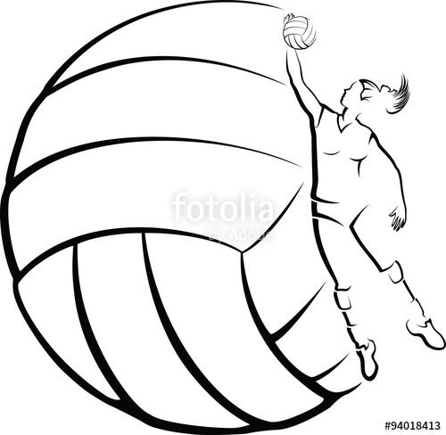 500x488 A Girl Volleyball Player In Front Of Stylized Volleyball. Stock