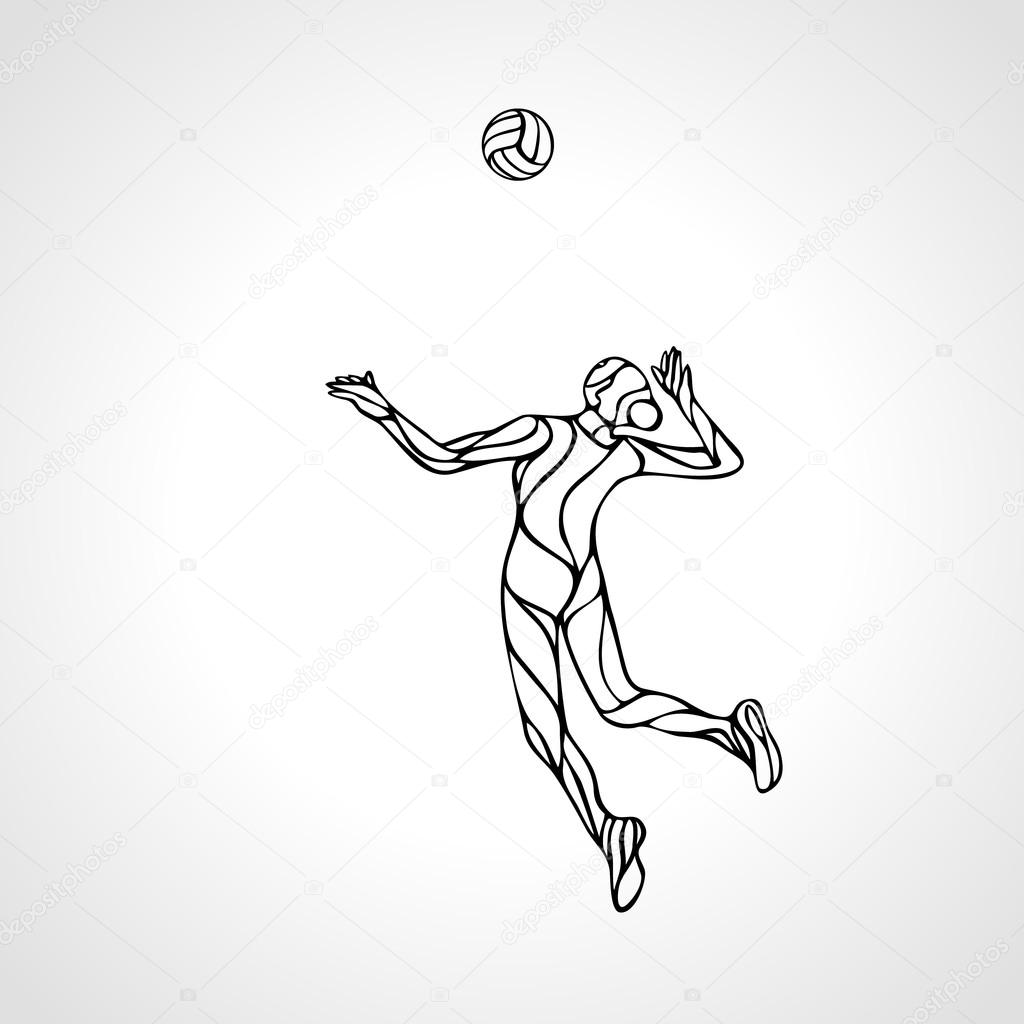 1024x1024 Female Volleyball Player Outline Silhouette Stock Vector Kluva