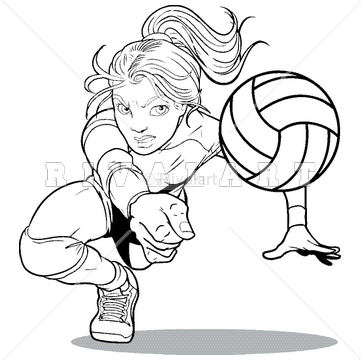 361x361 Sports Clipart Image Of A Girl Digging For A Volleyball Httpwww