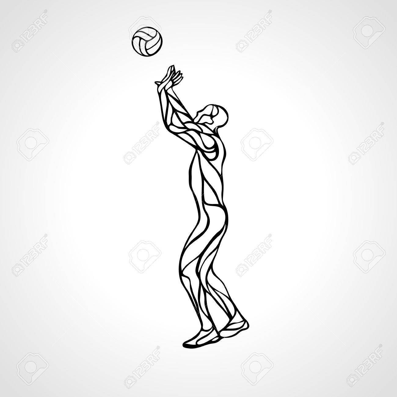 1300x1300 Stylized Athlete, Played Volleyball. Volleyball Player On Setter