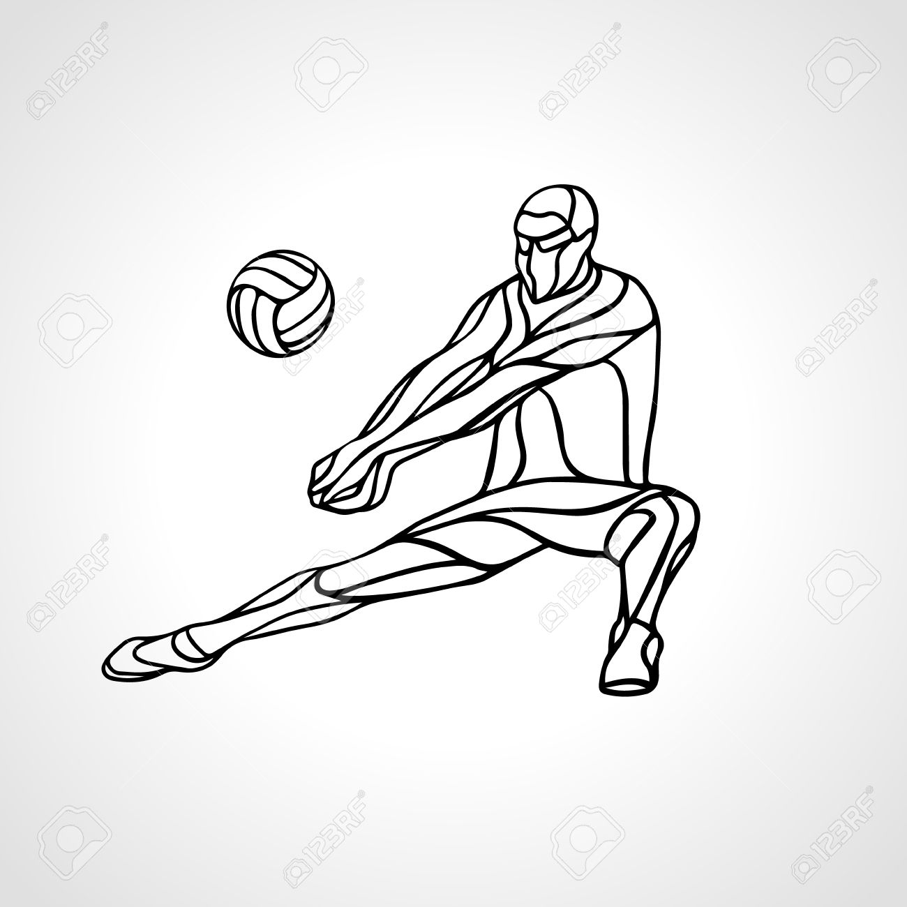 1300x1300 Volleyball Player Receiving Feed. Outline Silhouette Of A Abstract