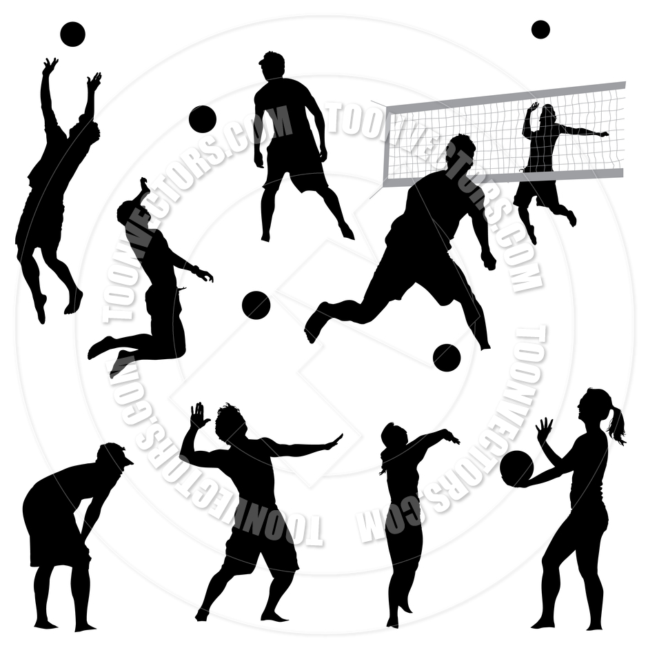 940x940 Volleyball Players Silhouettes By Koq Creative Toon Vectors Eps