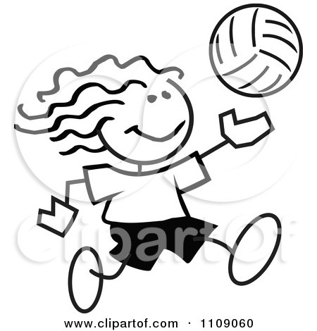 450x470 Clipart Black And White Sticker Volleyball Player Boy