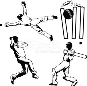305x300 Four Drawings Of Cricket Players Stock Vectors