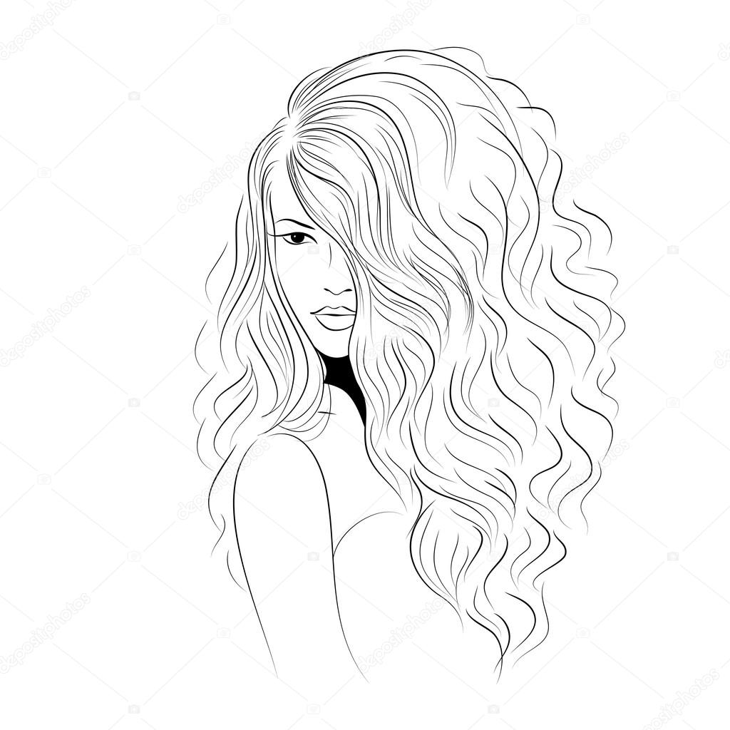 1024x1024 Model With Volume Curled Hair Stock Vector Aliona3333