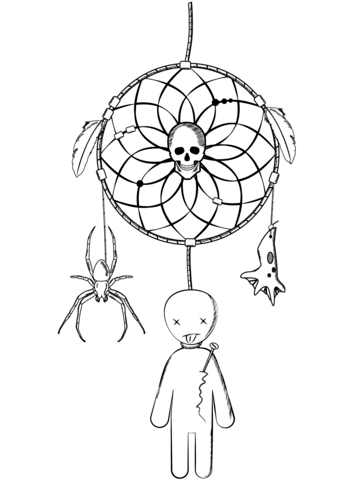 339x480 Halloween Dreamcatcher With Voodoo Doll And Spider Coloring Page