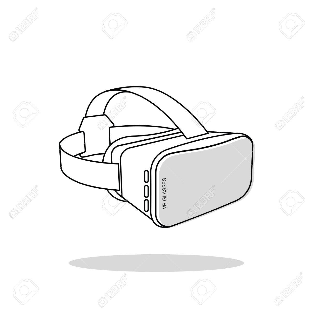 1300x1300 Virtual Reality (Or Vr) Glasses Outline Vector Icon Royalty Free