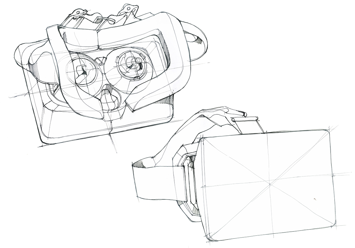 1200x839 Virtual Reality Head Mounted Display Concept On Behance Sketch