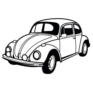 300x300 VW Beetle Car Versus Citroen 2CV Coloring Pages