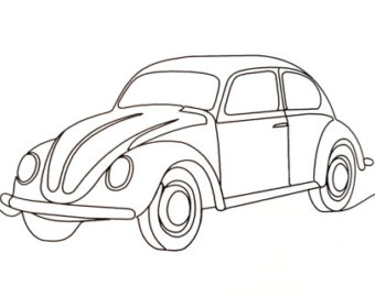 340x270 Volkswagon Beetle Redwork Machine Embroidery Pattern Design