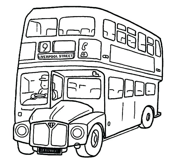 600x573 Bus Coloring Page Bus Colouring Pages A Double School Bus Coloring