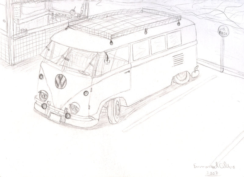 800x581 Vw Kombi Draw By Hiakesoba