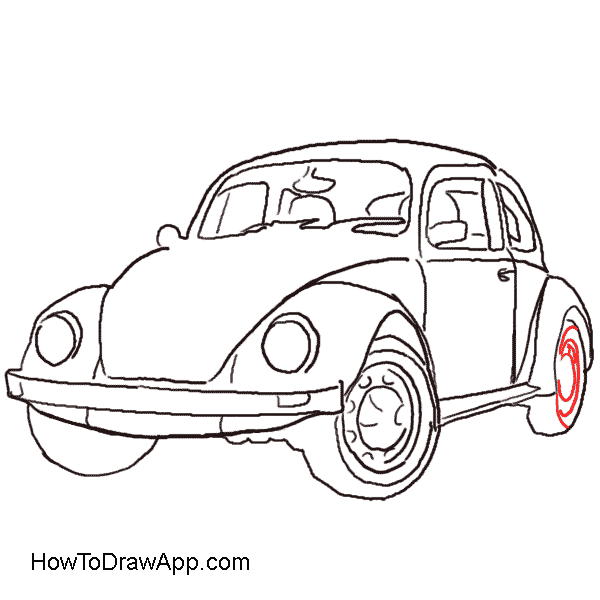 600x600 Vw Bug Drawing Front