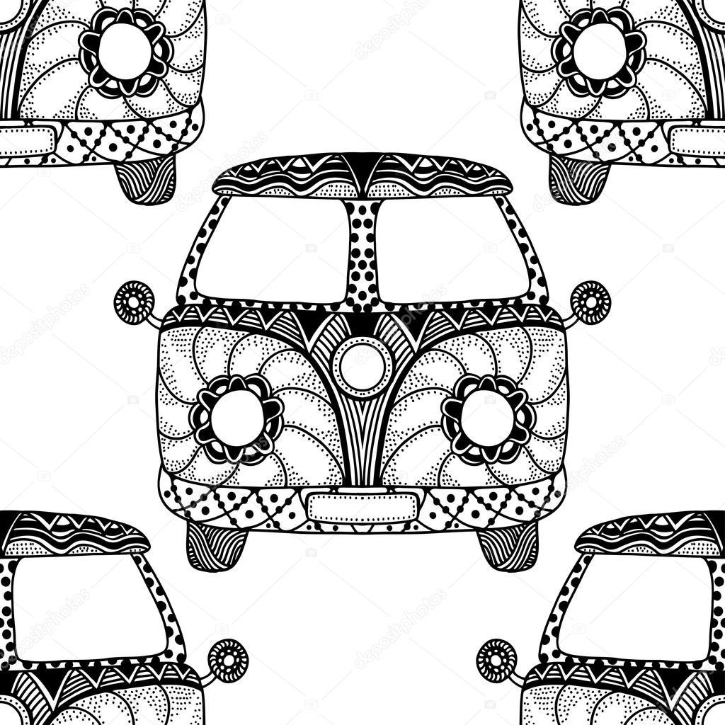 1024x1024 [ Hippie Van Drawing ] Hippie Volkswagen Bag Flower Design