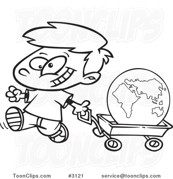 581x600 Cartoon Black And White Line Drawing Of A Happy Boy Pulling
