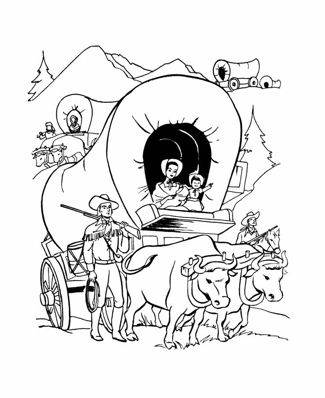wagon train coloring pages | Wagon Train Drawing at GetDrawings.com | Free for personal ...